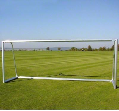 Aluminium-voetbaldoel 7,32x2,44 m, gedeeltelijk gelast, met bodemframe,  Met nethaken
