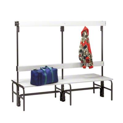Umkleidebank für Feuchträume mit doppelseitiger Rückenlehne, 1,5 m, Mit Schuhrost